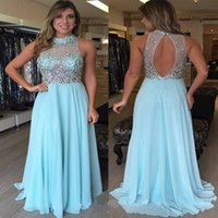 Wholesale Chiffon Dreses - Delicate Open Back High Neck Prom Dresses 2018 New Sleeveless Beads Blue Chiffon Long Evening Dreses Gowns Custom