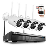 Wholesale Ip Camera Wireless Surveillance System - ANNKE 4CH CCTV System Wireless 960P NVR 4PCS 1.3MP IR Outdoor P2P Wifi IP CCTV Security Camera System Surveillance Kit