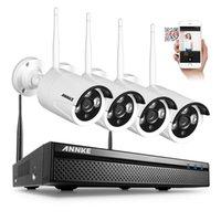 Wholesale Ip Cameras Kit - ANNKE 4CH CCTV System Wireless 960P NVR 4PCS 1.3MP IR Outdoor P2P Wifi IP CCTV Security Camera System Surveillance Kit