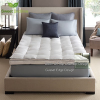 Wholesale Queen Topper - American Szie luxury bed mattress topper Down on Top Featherbeds 550+white duck down feather tatami mats twin king queen mattress pads cover