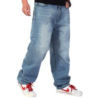 mens hip hop baggy jeans toptan satış-Erkekler Baggy Kot Büyük Boy Erkek Hip Hop Kot Uzun Gevşek Moda Kaykay Rahat Fit Kot Mens Harem Pantolon artı boyutu