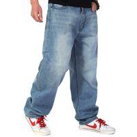 ingrosso jeans allentati di hip hop hip hop-Jeans larghi degli uomini Jeans di grandi dimensioni Jeans hip-hop lungo Loose Skateboard Moda Jeans rilassati Pantaloni da uomo Harem più dimensioni