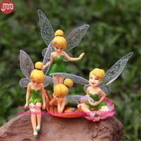 Wholesale Tinkerbell Toy Figures - New 4PCS Tinker Bell Fairies Action Figure Toys Tinkerbell Fairy Anime Figurines Cake Topper Kids Dolls Gift