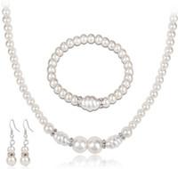 Wholesale Elegant Pearl Bracelet - New Arrival Lady Elegant White Pearls Necklace Bracelet Earrings set Choker Wristband Ear Studs Jewelry Gift