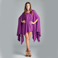 Wholesale Sexy Party Tunic Tops - Plus Size Womens Fashion Bat Sleeve Clothing Sexy Loose Irregular Poncho Top Tunic Asymmetric Blouse Shirt dress Slash Neck Club Party Mini