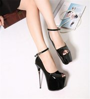 balo topuk kayışları toptan satış-Gece Kulübü Sandalet Balo Parti Stilettos Peep Toes Bayan Ayakkabı Yüksek Topuklar Platformu Bayanlar Ayakkabı Süper Topuk 16 cm Toka Kayış Hızlı Kargo