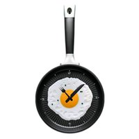 Wholesale Eggs Pan Wall Clock - Wholesale- LOVECITY HOME Creative Omelette Fry Pan Kitchen Fried Egg MINI Design Wall Clock Decor children's gift for Christmas