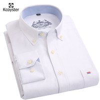Wholesale Easy Fit Brands - Wholesale- Kcoyster Brand Oxford Shirts Men 2017 Spring Easy Care Social Shirts Men Long Sleeve Slim Fit Striped Oxford Men Clothes S-4XL
