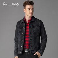 graue jeansjacke männer großhandel-Großhandels-Tanliyinfu2017 Frühling und Sommer neue hochwertige schwarz grau Herren Denim Jacke Mode Herrenjacke 11 Unzen