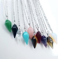 Wholesale Mix Order Pendant - High quality Hot natural crystal hexagonal pyramid pendulum pendants chainsbone chain necklace WFN064 (with chain) mix order 20 pieces a lot