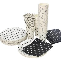 Wholesale Polka Dot Cup Party - Wholesale-Promotion White & Black Polka Dots Tableware Party paper plate cups napkins paper straw Cutlery Set Knives Forks Spoons
