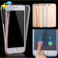 Wholesale Iphone Front Touch Screen - 360 Full Body Protective Soft TPU Transparent Case Cover for Iphone 7 7 Plus 6 6S Plus s8 s8+ Front Touch Screen & Back Cover