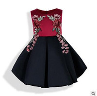 Wholesale Wholesale Pageant Gowns Girls - Girls Pageant Dresses 2017 Summer Baby Sleeveless Dress Stain Embroidered Dress Tutu Dresses Cotton Lining Infant Toddler Vest Dresses 316