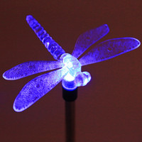 Wholesale Led Solar Butterfly Lights - Wholesale- Multicolor LED Solar Light Outdoor Dragonfly Butterfly Bird Lawn Lamps Solar LED Path Light Outdoor Garden Lawn Landscape Lamp