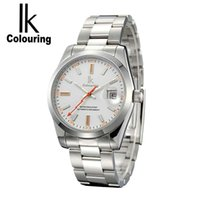 Wholesale Ik Watch Mens - IK Brand Man Automatic Mechanical Watch Mens 12 Hours Calendar Silver Full Steel Watches Fashion Simple Casual relojes