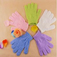 acessórios para o corpo de banho venda por atacado-Esfoliante Bath Glove Cinco Dedos Luvas De Banho Conveniente e Confortável Lavagem Do Corpo de Saúde Do Banheiro Acessórios DHL Frete Grátis