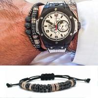 Wholesale Gold Stopper Bracelet - 2016 Anil Arjandas Luxury Gold Black Plated Stoppers Macrame Bracelet Handmade Black Zircon Bracelets Mens & Womens Accessories
