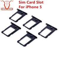 Wholesale Iphone Black Sim Card Tray - Nano SIM Card Slot Tray Holder Replacement Adapter Kit Fix for Iphone 5 5g Repair Spare Parts for iphone5 i5 Black Silver Color