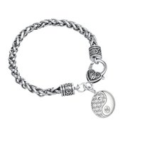 Wholesale Egyptian Charms - Egyptian Jewelry Tai Chi Mandala Silver Plated Charm Thick Wheat Chain Lobster Clow Clasps Bracelet