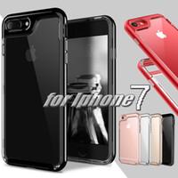 Wholesale Metal Back Bumper - TPU + PC 2 in 1 Bumper Shockproof Case For Iphone 7 Plus Transparent Clear Hybird Armor Back Cover Case For Iphone 7 6 6S Plus MOQ:10pcs