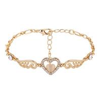 Wholesale Dropshipping Bracelet - Luxury Wing Heart Crystal Bracelet Wedding Punk Silver Color Bijoux Gift Rhinestone Bracelets Bangles For Women Fashion Jewelry Dropshipping