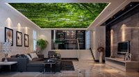 Wholesale Natural Style Landscaping - Wallpaper 3d Nature Green Forest Landscape Soundproof Ceiling 3D Wallpaper Living Room Room Home Improvement Ceiling Murals