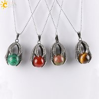 Wholesale Opal Antique - CSJA Men Jewelry Antique Silver Tribal Pendant Necklace Vintage Embossed Dragon Claw Round Natural Stone Bead Ball Pendants Necklaces E454 B