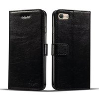 Wholesale Iphone Slimmest Flip Case - For IPhone 7 Plus Wallet Case Luxury Ultral Slim Kickstand Card Slots Folio Flip Cover with Landyard OPP BAG