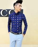 Wholesale Korean Designer Shirts - Wholesale-new fashion korean bronzing gold slim fit mens dress shirts designer clothes casual floral shirt men,navy blue white,M-XXL
