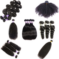 Wholesale Afro Kinky Weave - Brazilian Kinky Curly Virgin Hair 10A Brazilian Mogolian AFRO Kinky Straight Body Loose Deep Water Wave Weaves Human Hair 3 or 4 Bundles