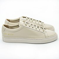 Wholesale Scarpe Uomo - Italy Original Brand Common Projects Handmade Full Genuine Leather Sheepskin Women Men Casual Shoes Femme Donna Uomo Scarpe All Beige