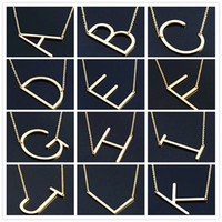 Wholesale Personalized Silver Initial Necklace - Women Fashion Sideways Personalized A-Z Letter Name Initial Gold Silver Plated Stainless Steel Necklace Pendant For Women Best Gift