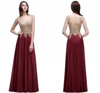 Wholesale Price Beaded Appliques A Line Evening Dresses Sheer Jewel Neck Illusion Back Cheap Prom Gowns Bridesmaid Dresses Under