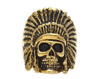 venda de jóias antigas venda por atacado-Hot sale mais recente liga en Anel de aço inoxidável Do Vintage Hip hop Estilo Punk Ouro Preto Antigo Maya Tribal Indian Chief Crânio Anéis de Jóias