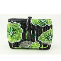 Wholesale Cheap Purses Handbags Sale - Wholesale- Canada Hot Sale Woman Handbag Green Mini Box Clutch Bag Rhinestone Floral Small Clutch Purse Crystal Evening Bags Cheap Sale