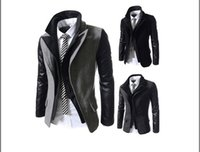Wholesale Two Button Leather Jacket - Wholesale- New winter False two Pieces oblique zipper design Stitching leather sleeves, men cultivating Wool & Blends Jacket coat