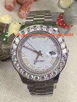 18 herren-diamant-uhr großhandel-Luxus Armbanduhr Erstaunliche Herren 2 II 18 Karat 41 MM Weißgold Größere Diamant Keramik Lünette Automatische Bewegung Mechanische Männer Uhren Top-qualität
