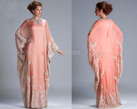 Wholesale Cheap Abayas - Dubai Peach Long Sleeves Abaya Kaftan Cheap Formal Evening Dresses with Lace Appliques Pageant Party Gowns Long Evening Wear JQ3309
