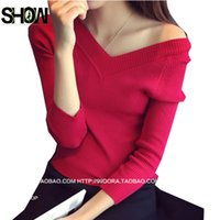 Wholesale Women Tights Winter Wear - Wholesale-4 Colors Hot Selling New Autumn Winter Tops Hot Fashion Women Basic Wear Slim Tight Bodysuit Black White Orange V Neck Sweater