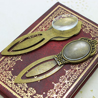 Wholesale Oval Bookmark - 6set Antique Bronze Alloy Cameo oval Flower Steel Bookmarks 22*80mm(Fit 18*25mm) Round Cabochon Settings + Clear Glass Cabochons