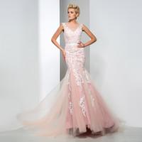 Wholesale Elegant Mermaid Gowns - V-Neck Mermaid Colorful Wedding Dresses Sheer Neck Backless Sexy Back Floor-Length Custom Made New Applique Elegant Castle New Bridal Gowns