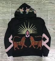 Wholesale Women Jumper Tiger Print - 2017 luxury brand men hoodies autumn winter high-end two tiger flower embroidery Designer hoodies men women fashion jumper sweatshirts