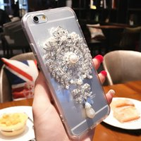 Wholesale Iphone Case Gel Flower - For iphone 7 7plus 6s 6plus 6splus 6 5s 4s Luxurious Pearl Rhinestone Sun flower Transparent anti falling silica gel mobile phone case