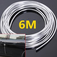 Wholesale Fitting Mould - 6M Chrome Moulding Trim Strip Car Door Edge Scratch Guard Protector Cover Strip Roll Fits Most Universal Car All Models CDE_00L