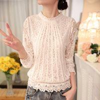 Wholesale Ladies Feminine Clothing - Autumn Blouse Shirt Female Ladies White Blusas Women's Long Sleeve Chiffon Lace Crochet Tops Blouses Women Clothing Feminine