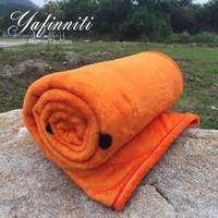 Wholesale English Training - English Letter Fashion Soft Blankets Orange Blanket Throw Blanket Office Bedsheet Plaids Plane Ship Train Use Soft 130x150cm
