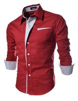 Wholesale Drop Shipping Shirts - Wholesale- Men's long sleeve shirt patchwork casual semi-formal style red white black navy new fashion drop shipping
