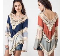 Wholesale knitting blouse womens - Bohemia Beach Blouse Womens Boho Bikini Cover Up Women V neck Crochet Kimono Blouse Plus Size Shirt Long Knit Tunic Tops Femininas