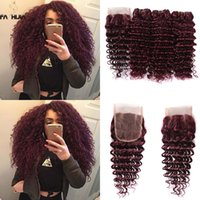 Wholesale Virgin Hair Low Prices - Brazilian virgin hair extension low price burgundy human hair bundles with closure brazilian wine red deep wave weave closure with bundles