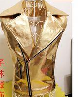 Wholesale Dance Costumes Jacket - Wholesale- 2015 GD Punk Style Cool Men's Fashion Ds Costumes Dance Paillette Shiny Gold Silver Leather Vest Jacket Personality Waistcoats